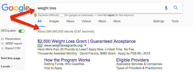 """""""Weight loss"""" Google Results"""