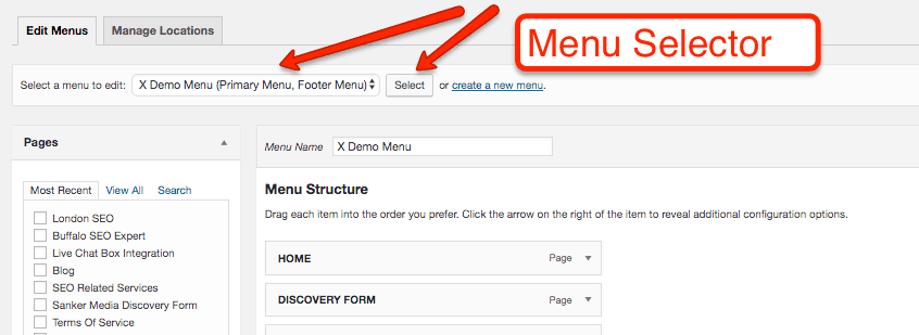 Menu selector in WordPress